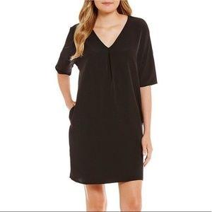 H By Halston Black VNeck Shift Dress